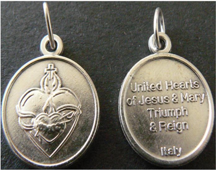 Escapulario medalla de los Corazones Unidos