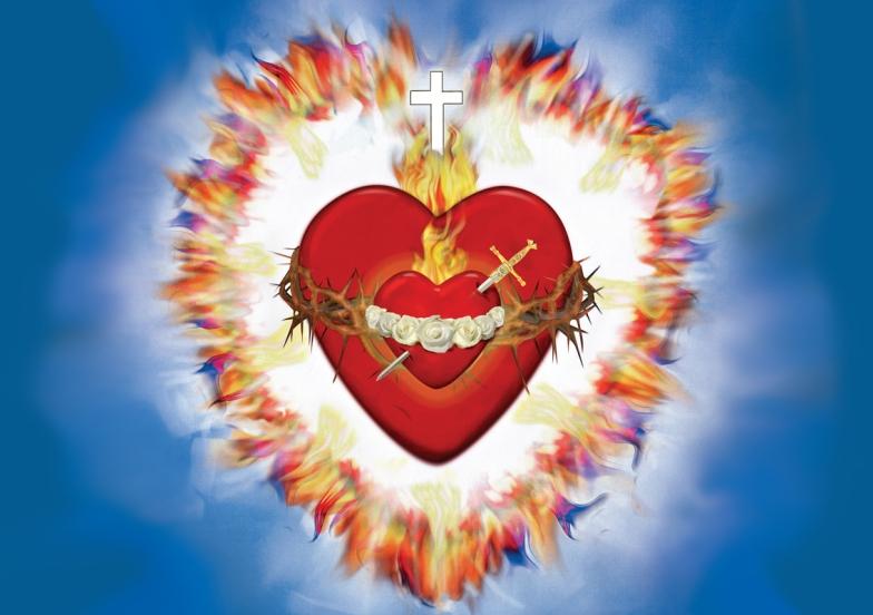 Imagen Completa de los Corazones Unidos:  Padre, Hijo, Espíritu Santo e Inmaculado Corazón de María  →  Descargar Imagen  ←