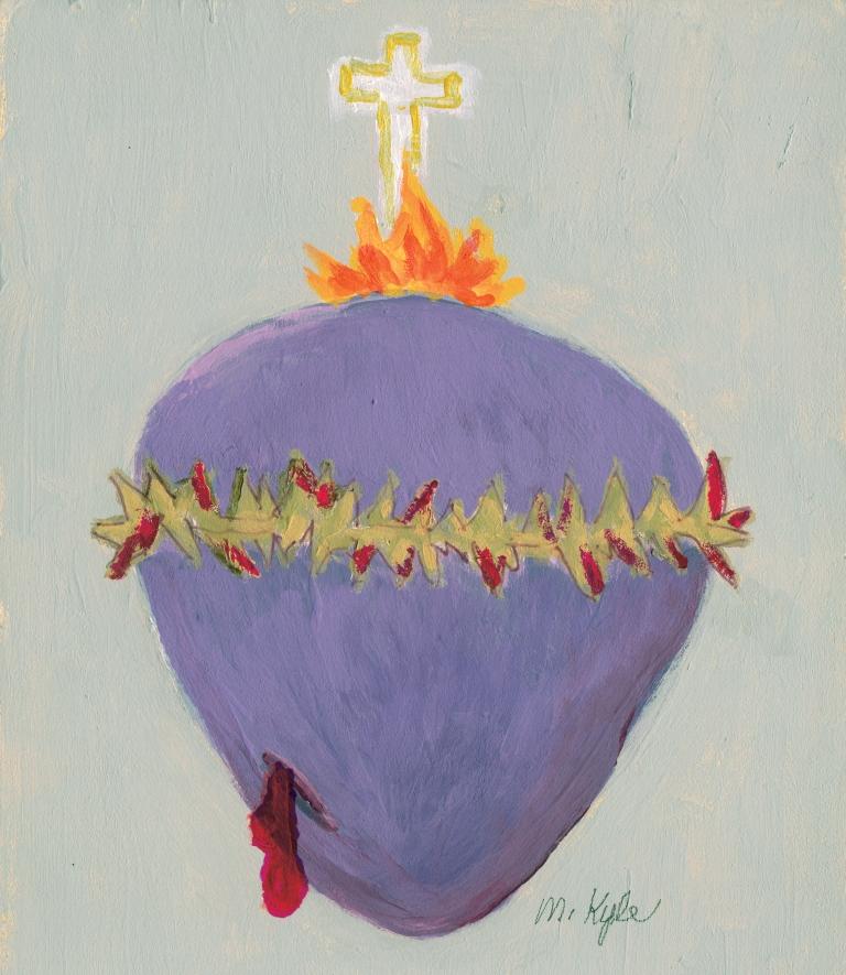 """Nota de Maureen sobre su dibujo del Desolado Corazón de Jesús: """"Los que vayan a reproducir la Imagen del Desolado Corazón de Jesús deben saber que para mí es humanamente imposible reproducirla tal y como es en vivo. Mi intento no es bueno pero es mi mejor intento. El Corazón tiene un color morado apagado, casi gris. La Sangre tiene un color rojo oscuro y está también en las Espinas. Creo que las Llamas y la Cruz sí se acercan bastante a la realidad."""""""