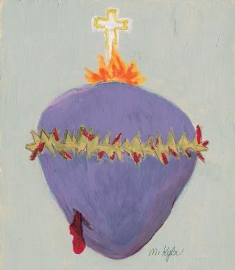 """Nota de Maureen sobre su dibujo del Desolado Corazón de Jesús: """"Los que vayan a reproducir la Imagen del Desolado Corazón de Jesús deben saber que para mí es humanamente imposible reproducirla tal y como es en vivo. Mi intento no es bueno pero es mi mejor intento. El Corazón tiene un color morado apagado, casi gris. La Sangre tiene un color rojo oscuro y está también en las Espinas. Creo que las Llamas y la Cruz sí se acercan bastante a la realidad."""" → Corona al Desolado Corazón de Jesús"""
