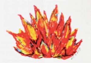Así es como la vidente Maureen ve la llama que ha llegado a reconocer como el Corazón de Dios Padre, quien a partir del mes de junio del 2017, le ha estado dando importantísimos Mensajes casi a diario. - → Leer Mensajes de Dios Padre
