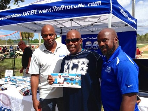 "Delino, Linc and professional hitting instructor ""Mr. 7000"" aka Mike Mosley giving big props to the Pro Cuffs!"