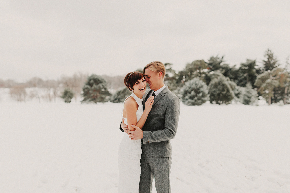 snowy wedding bridal portrait kansas city missouri