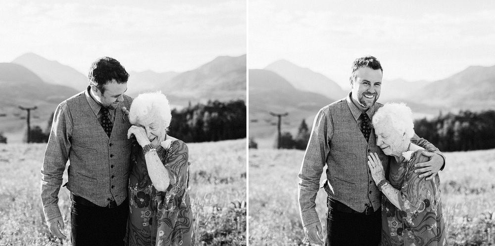 touching moment grandma grandson groom crested butte wedding