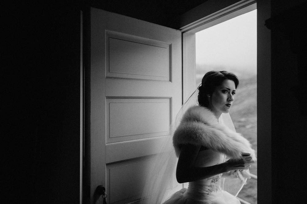 black and white bride candid moody light tiburon california