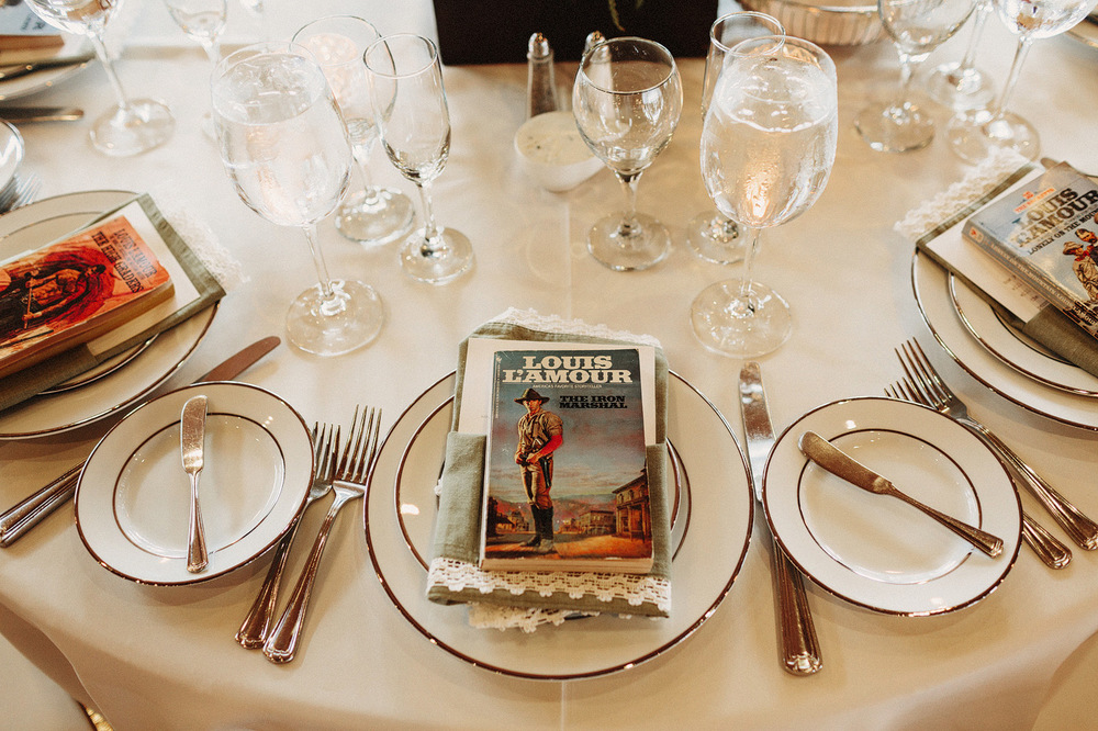 wedding detail table set with old book colorado