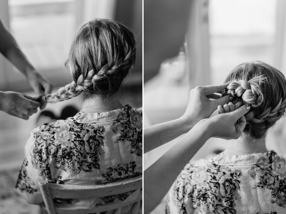 bride getting hair done rocky mountain wedding photographer