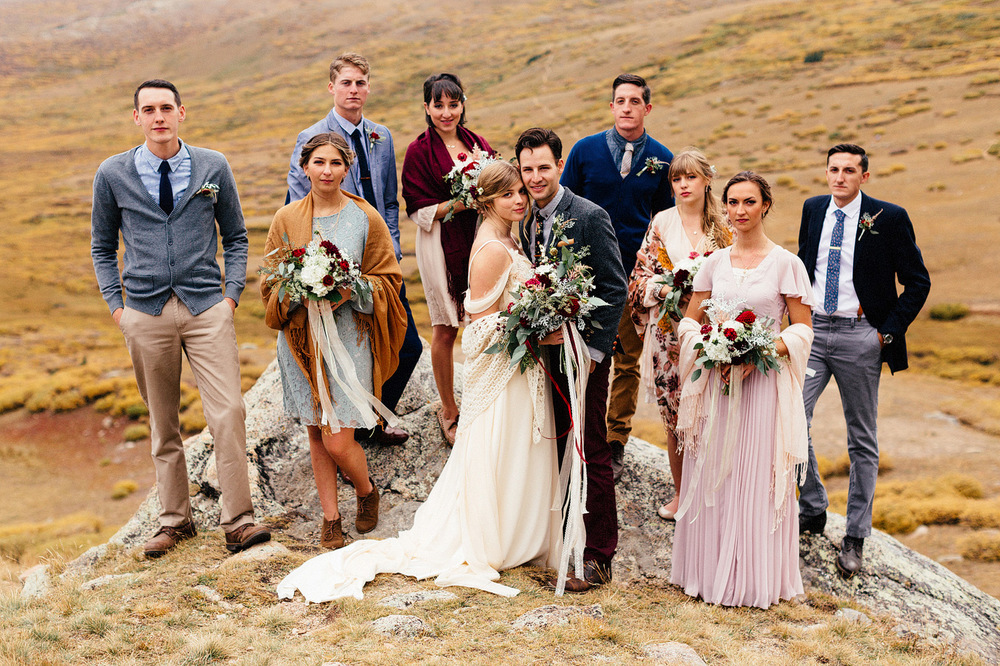 artistic bridal party colorado mountain wedding
