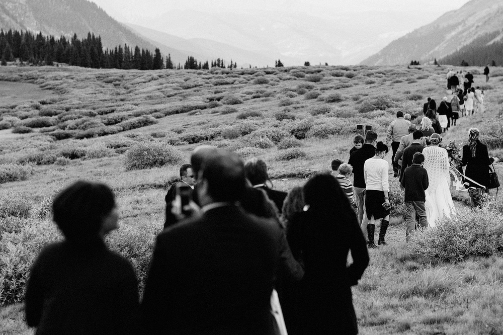 guests leaving mountain wedding