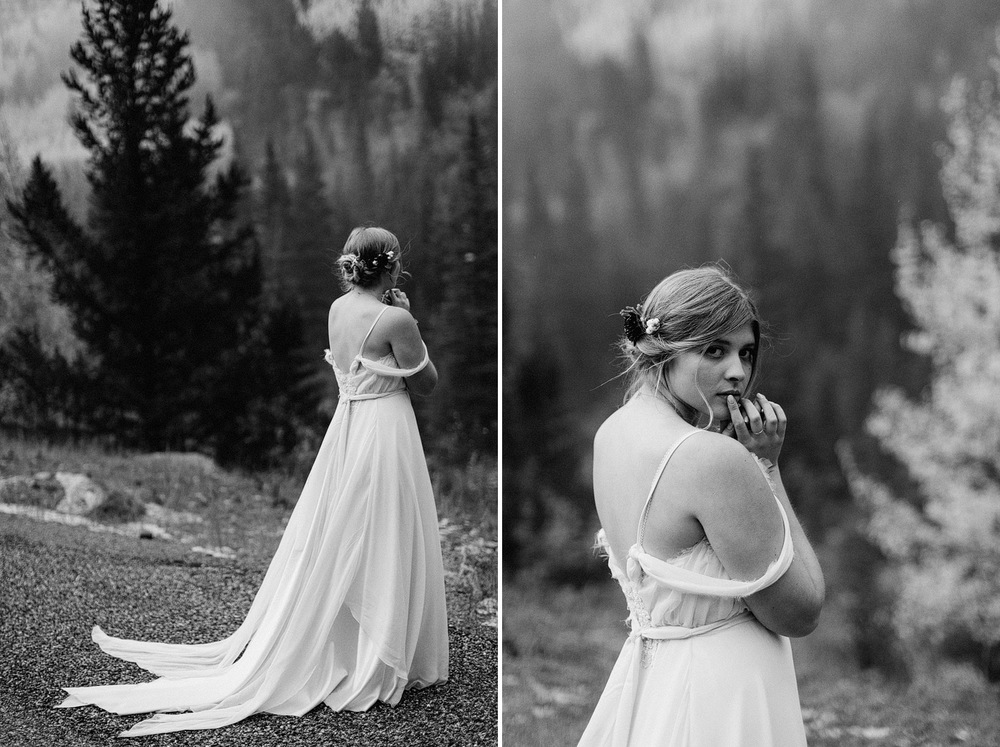 black and white bridal portrait foggy mountain colorado