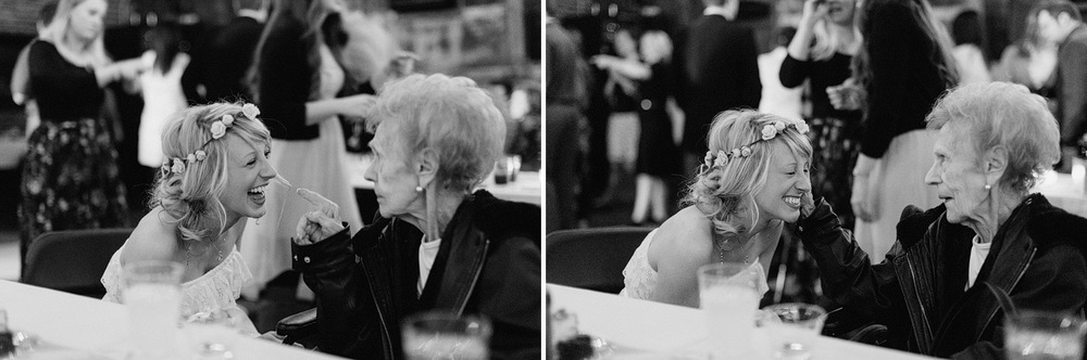 touching moment between grandma and granddaughter at wedding rec
