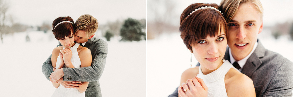 snowy wedding photographer kansas city winter wedding