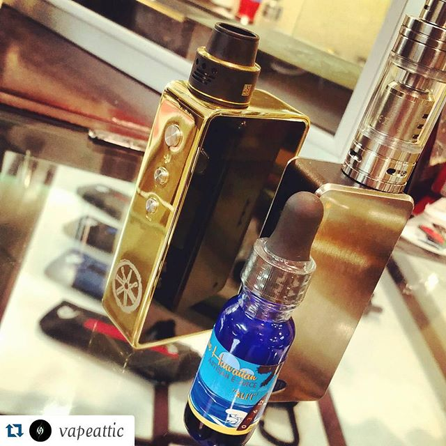 #Repost @vapeattic with @repostapp. ・・・ Ali'i from @bluehawaiianartisan is back in!  It is a sweet apple jolly rancher that you can vape all day. Also, the gold #snowwolf with a black and gold #royalhunter and the black fullsize tfv4 and stainless mini tfv4 from #smok. Come on by and check out some new juice or pick up an old favorite.  31608 Yucaipa Blvd suite 4 Yucaipa, CA 9239 (909) 794-3180  #vapelife #vapelove #vapeattic #driplife #vapers #calivapers #ievapers #doyouevenvape #cks #socal #inlandempire #cloudchasers #clouditup #vaper #vape #dripsociety #vapelyfe #vapecommunity #vapor #yucaipa #redlands #calimesa