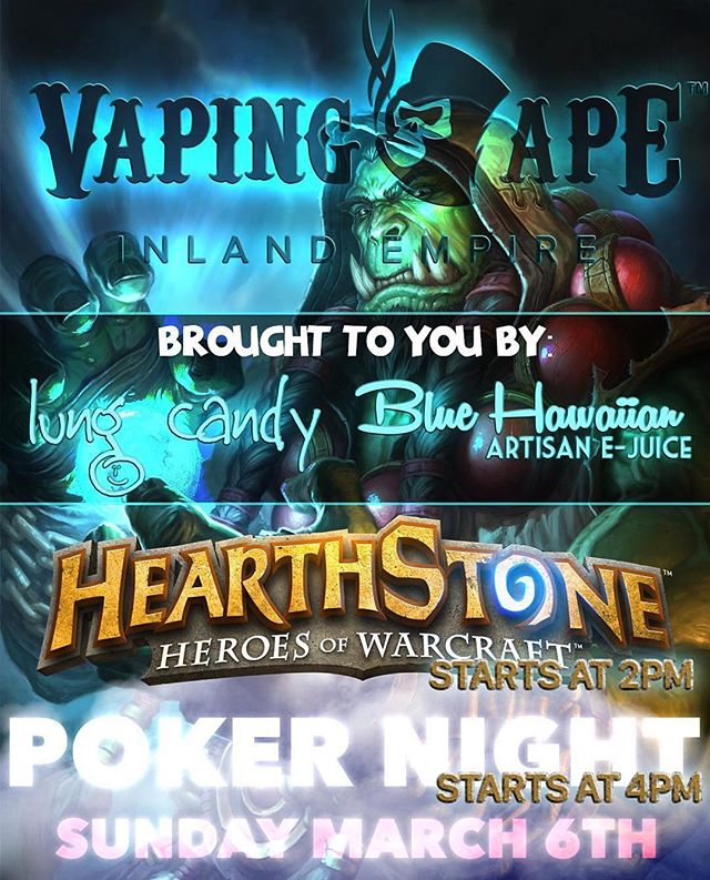 THIS SUNDAY! Don't miss out on our #hearthstone tournament held in store followed up by a game of #poker ! It'll be a fun night so come through!  #vape #vapeporn #vapelife #vapecommunity #socalvapers #vaping #instavape #vapehooligans #vapelyfe #mods #vapedaily #vapefam #vapeon #mod #vapestagram #vaper #vapor #vapingape #vapingapeie