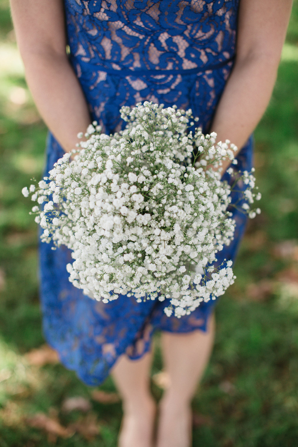All white baby's breath with dusty miller.