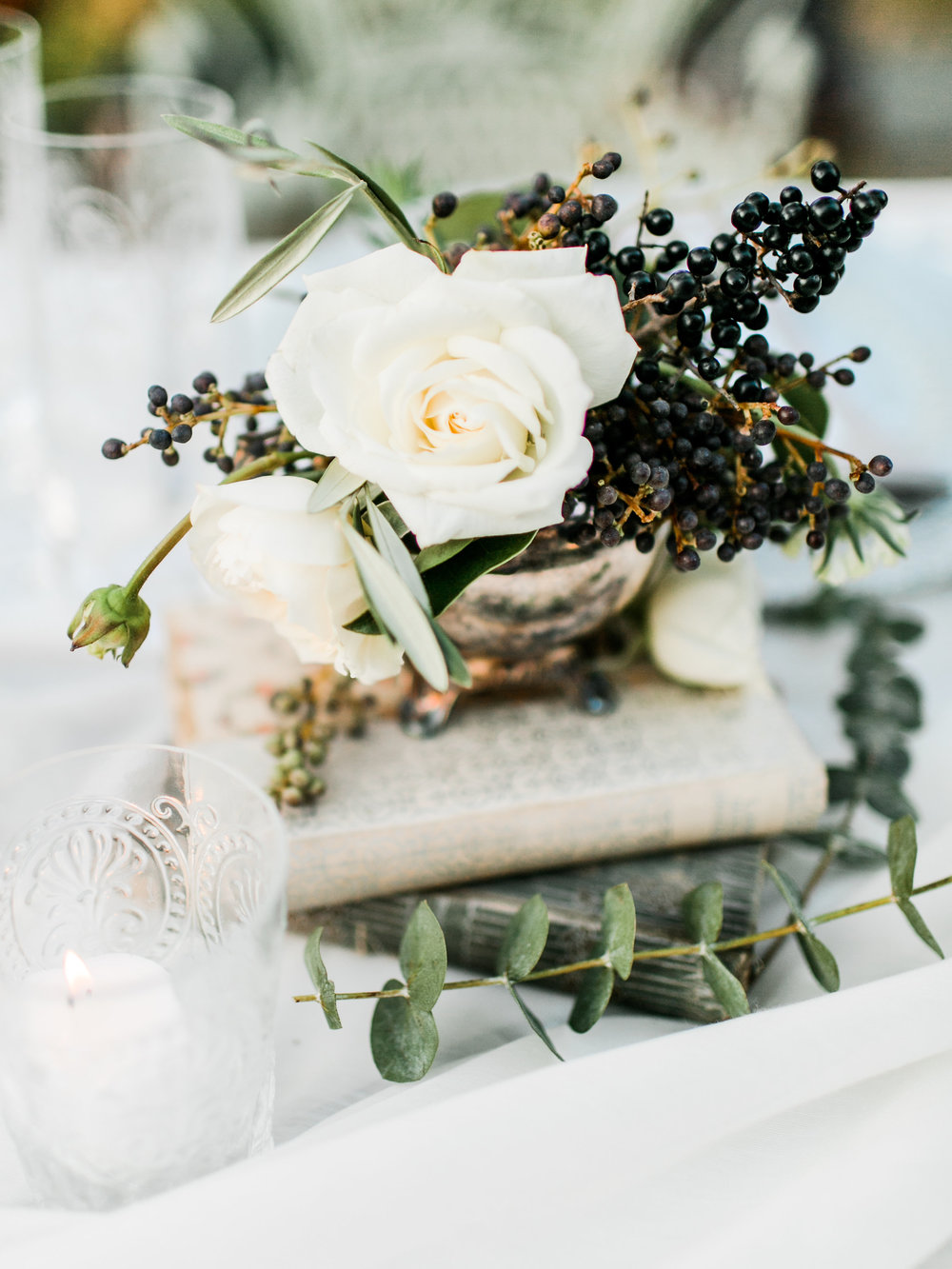 garden roses, privet berries, wild olive, and scabiosa