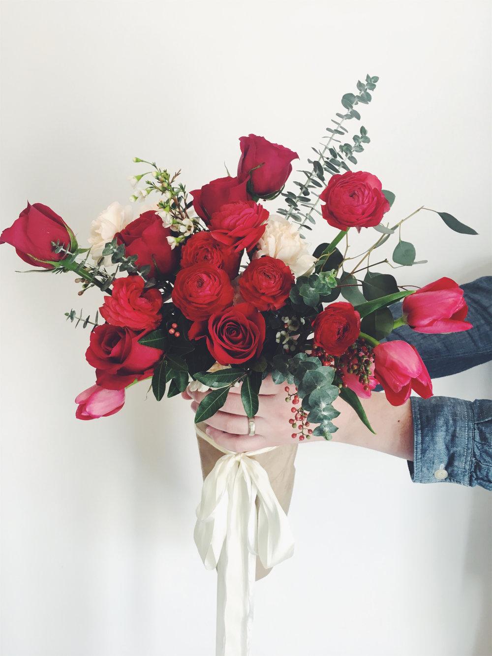 fresh flower valentine's day bouquet at pop up shop