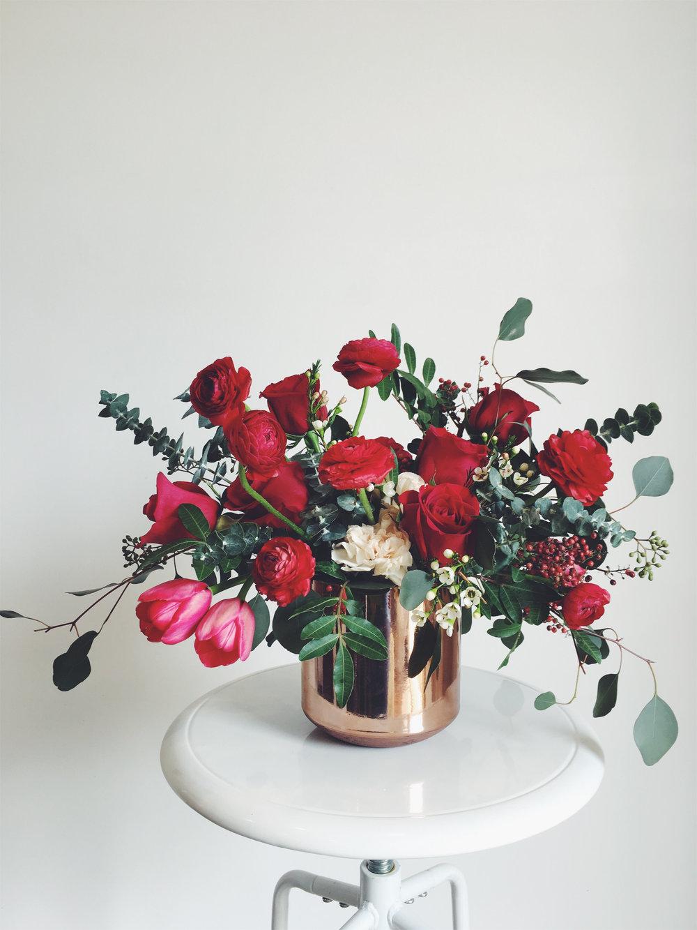 Valentine's Day flowers in copper vase