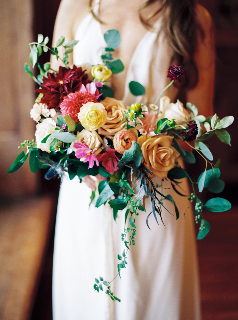 bride bouquet of colorful flowers