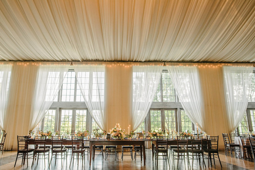 drapery wedding reception
