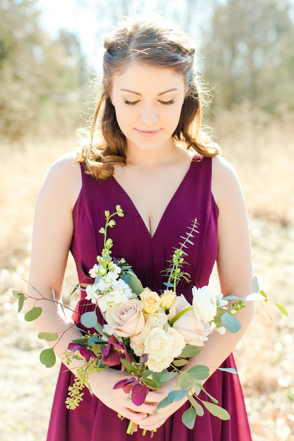 bridesmaid burgundy flowers