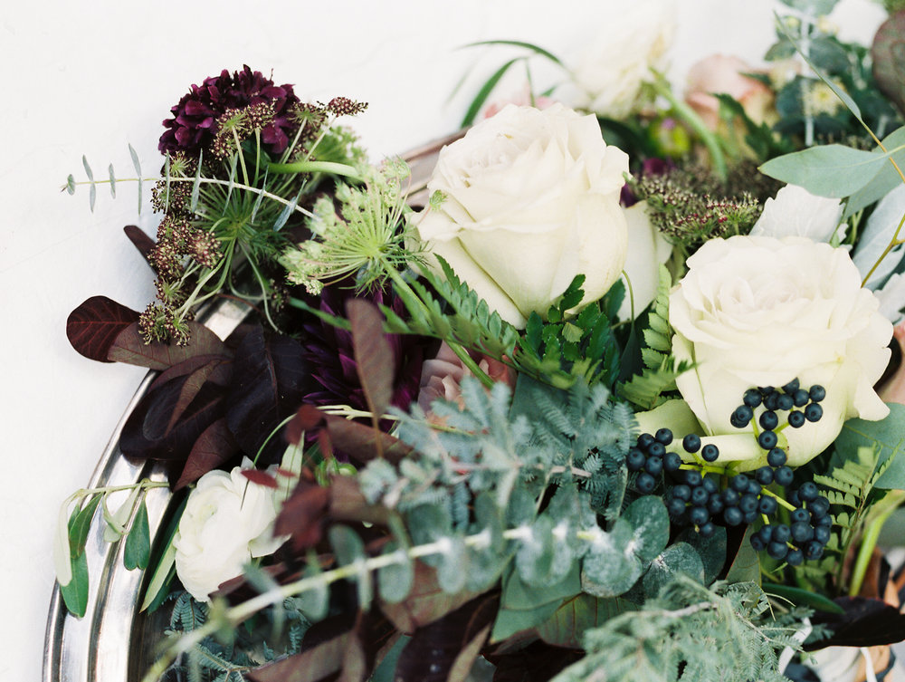 earthy boho purple mauve wedding flowers