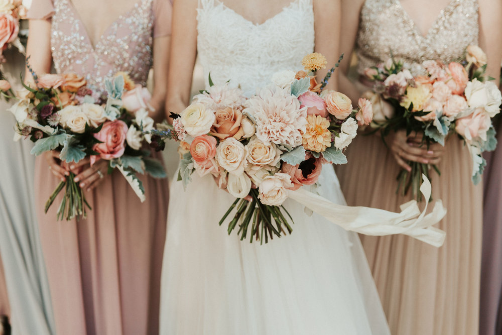 peach and cream wedding flowers north carolina