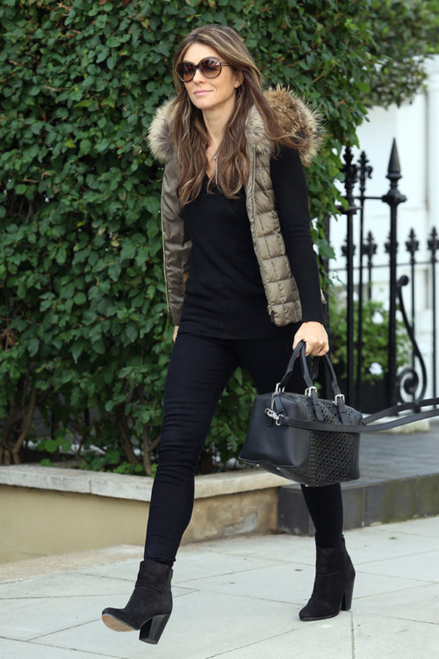 Gilet Gem Liz Hurley Has Winter Style All Wrapped Up