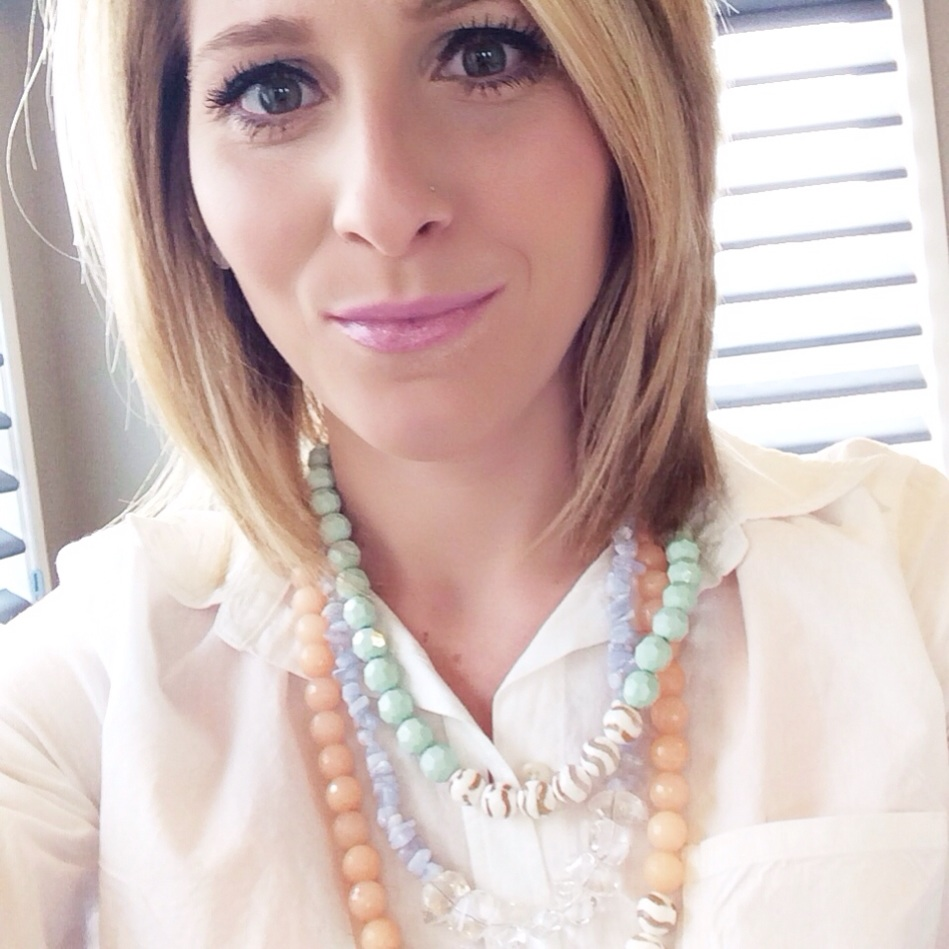 White button up + Hanson Design sherbert jewels for last nights Madewell Event!