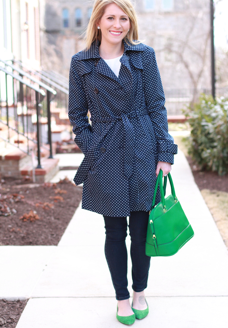 Navy Polka Dot Trench