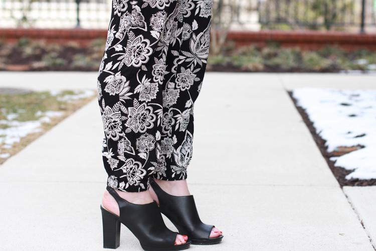 Black & White Floral Jumpsuit