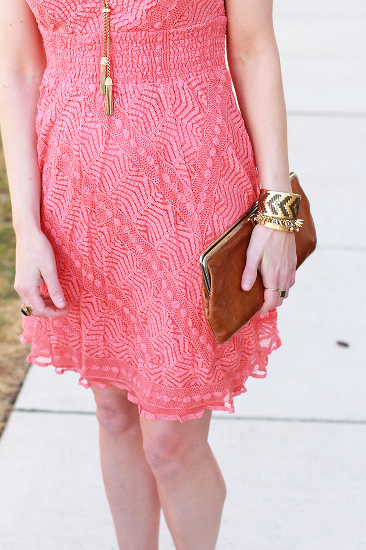 Lacey Peach Dress