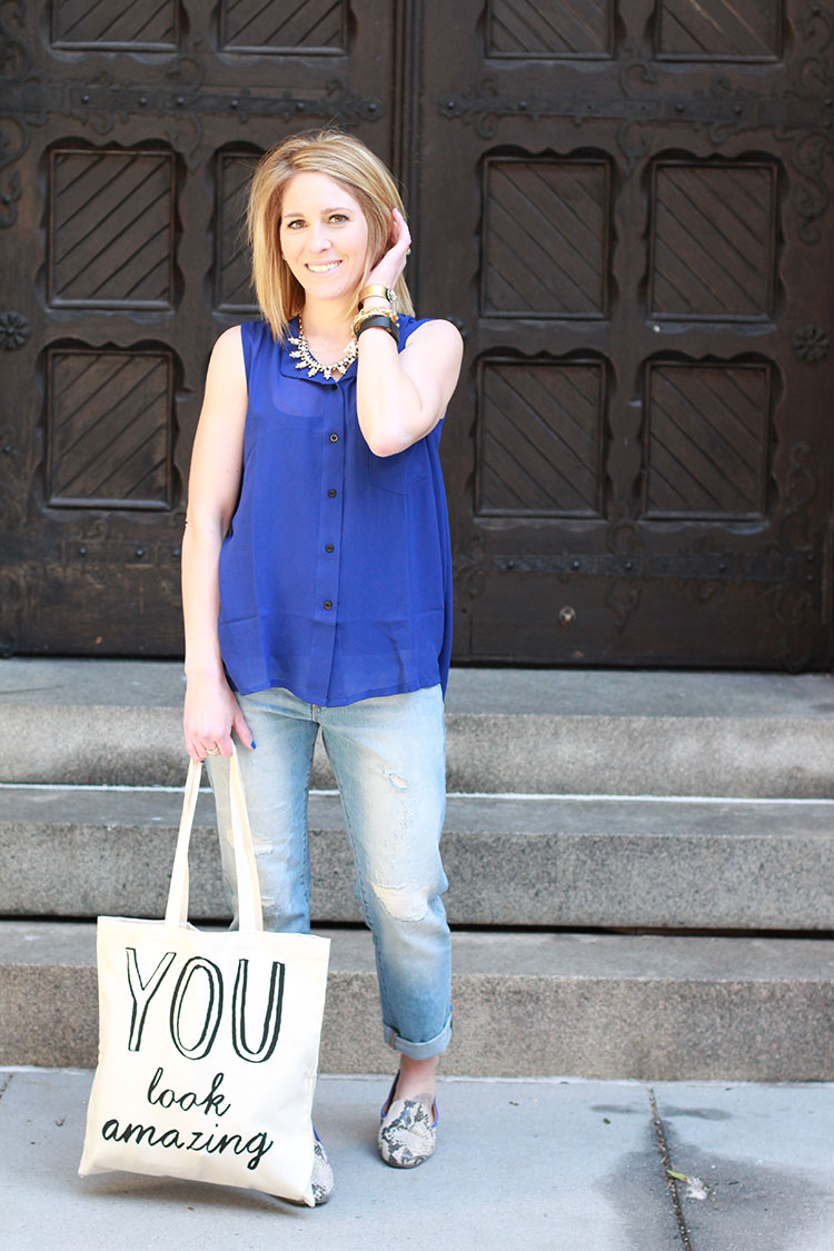 Blue Blouse & Gap Boyfriend Jeans