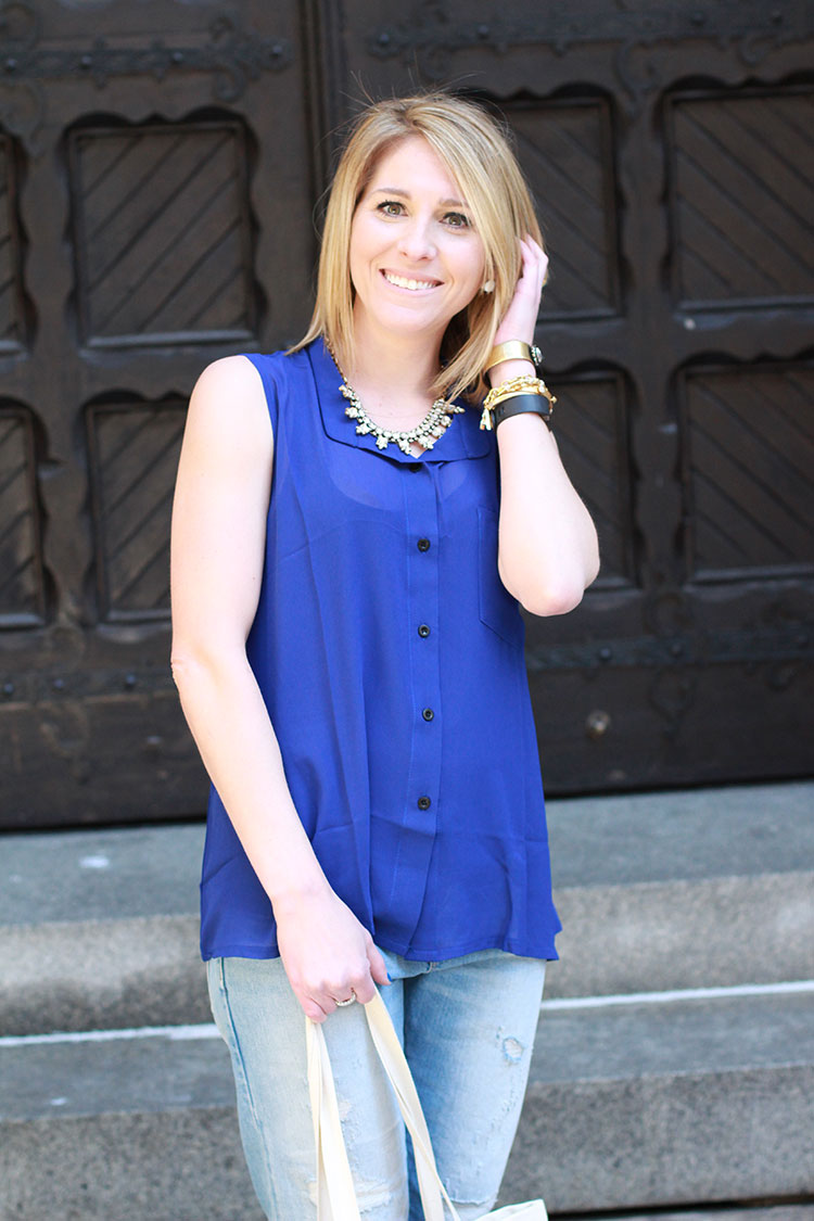 Cobalt Sheer Blouse