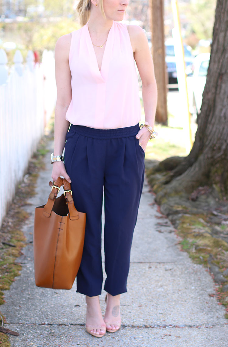 Spring Outfit Idea: Navy & Pink