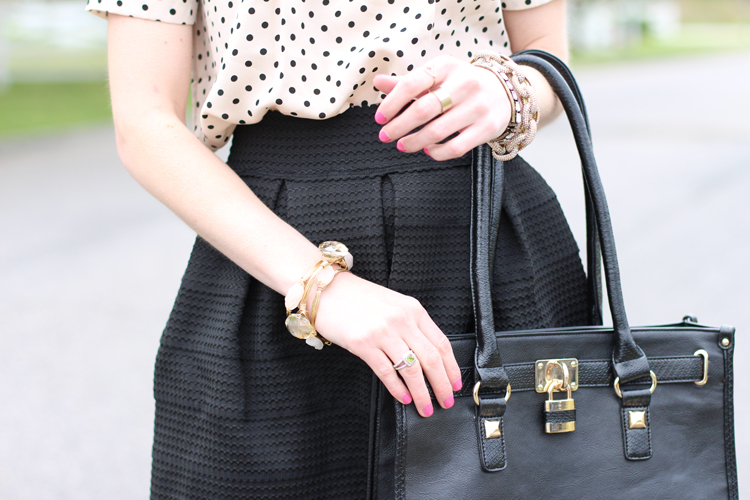 Polka Dot Shirt & Black Skirt