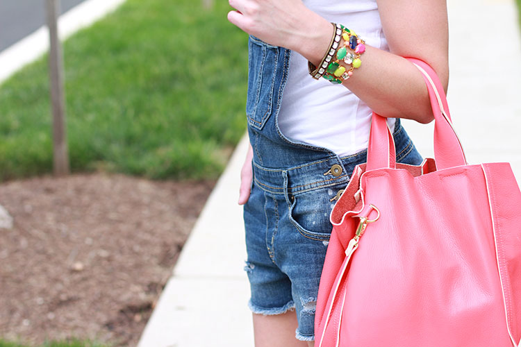 Casual Summer Outfit: Denim Overall Shorts, White Tee & Espadrilles