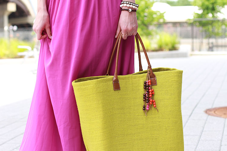 Fuchsia Maxi Dress & Lime Green Tote