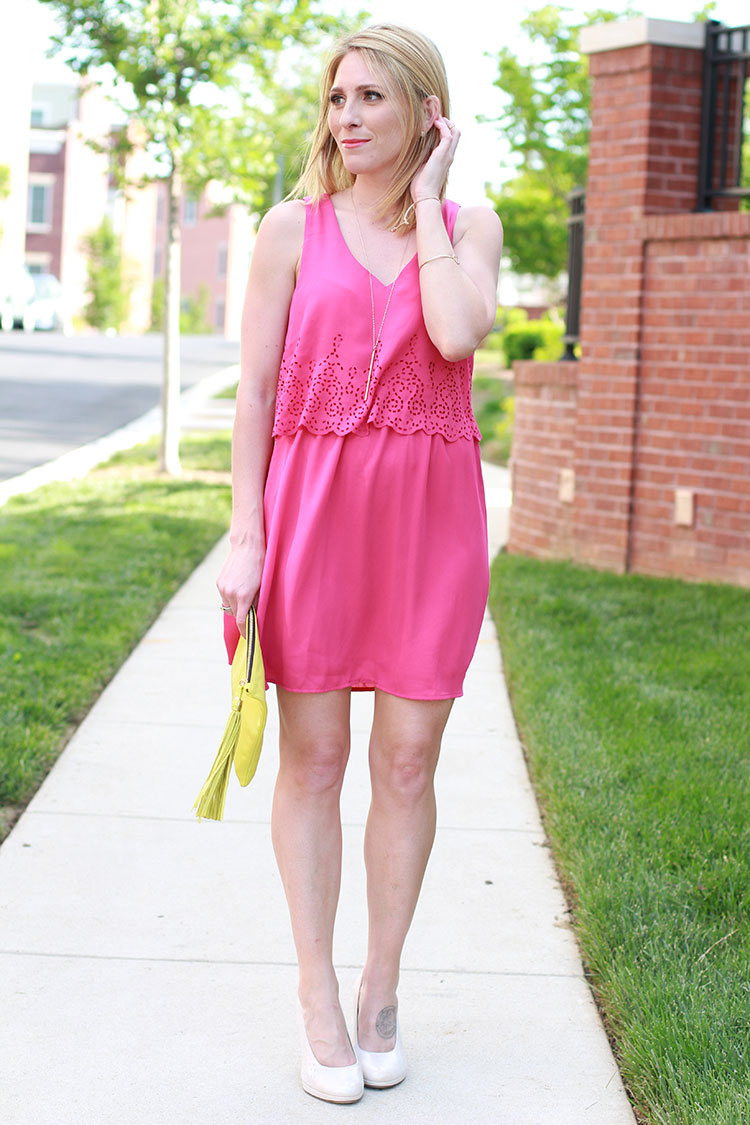 Pink Layered Chiffon Dress