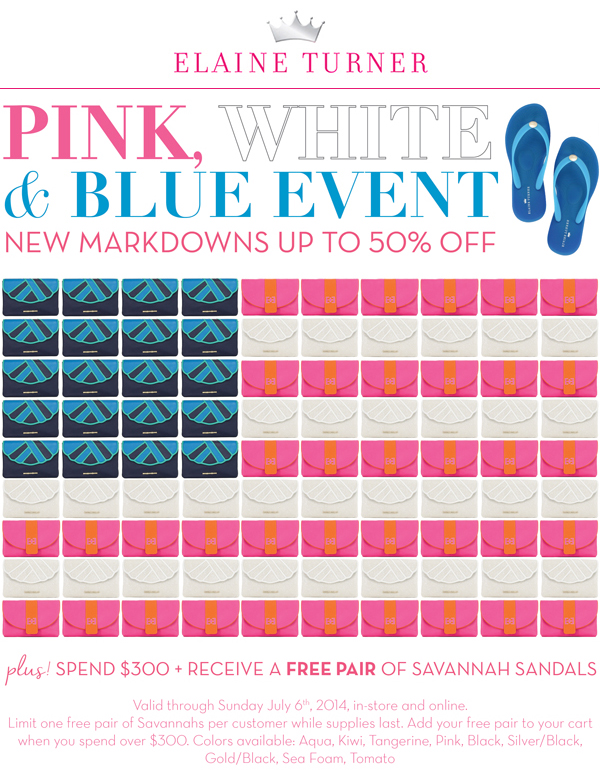 Elaine Tuner Pink, White & Blue Sale