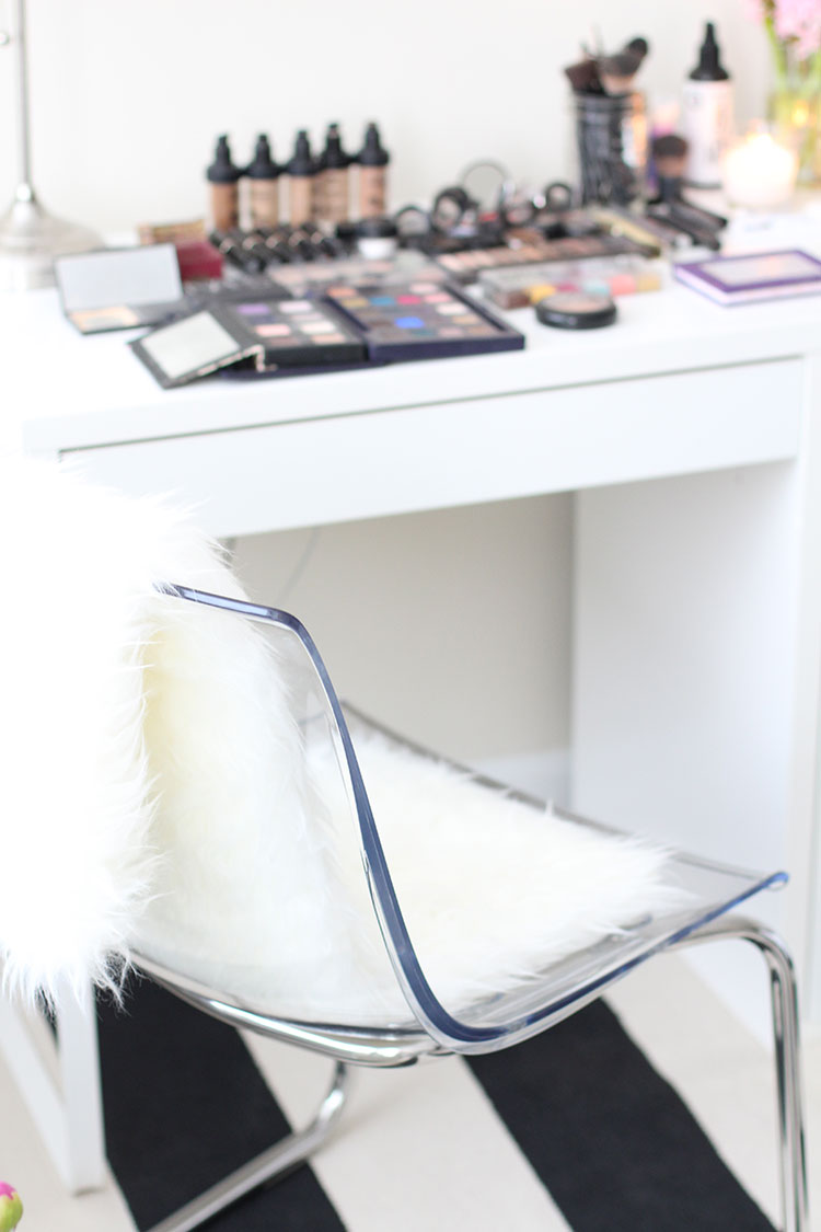 Lucite Chair & White Fur Rug