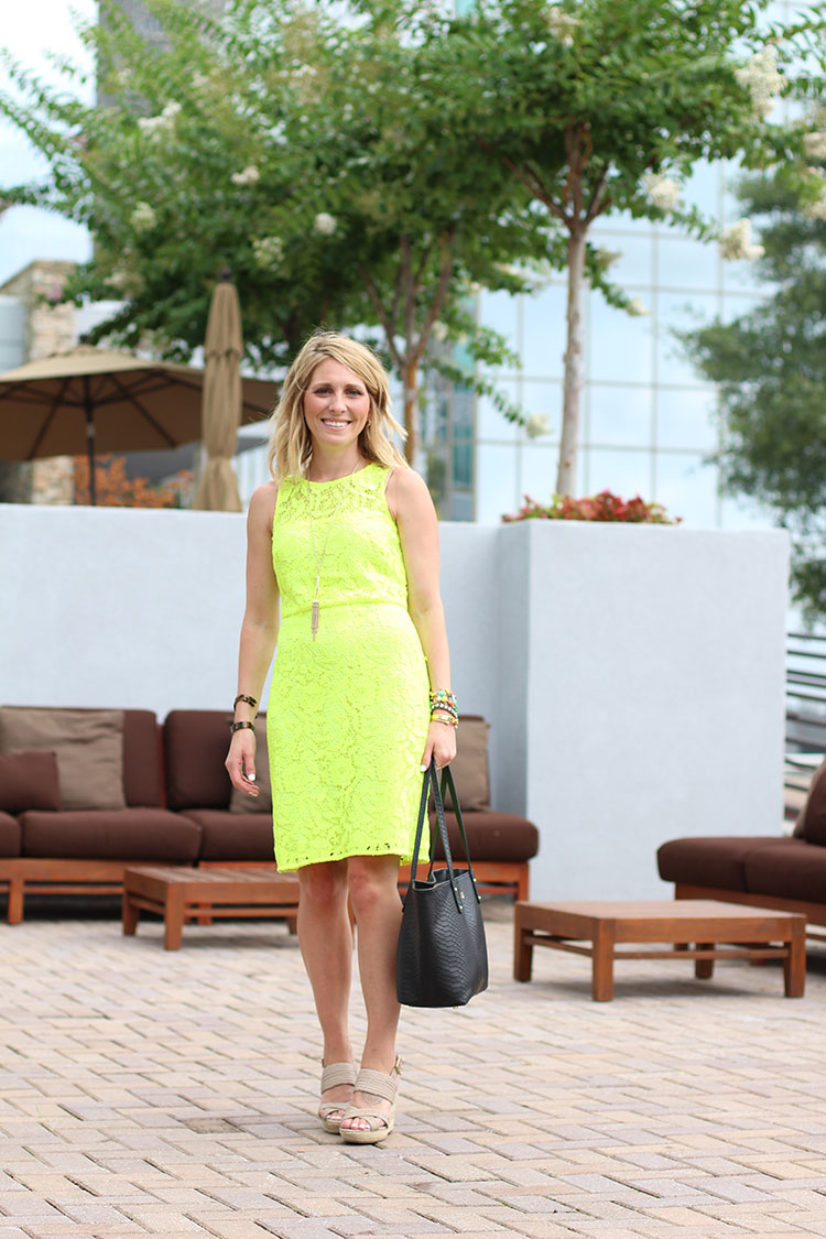 Neon Lace Dress, J.Crew Lace Shift Dress, Gigi New York Mini Taylor Tote, Sole Society Saraa Wedge