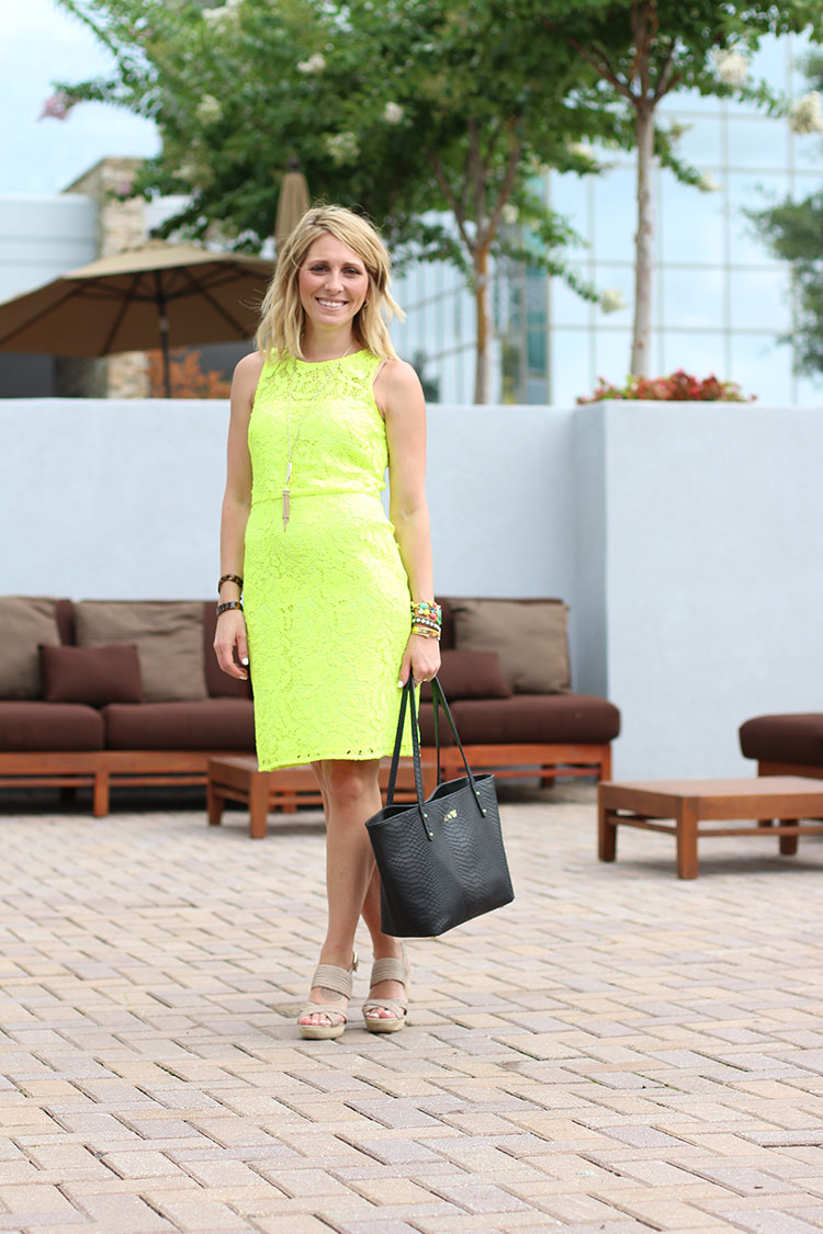 J.Crew Lace Shift Dress, Lace Shift Dress, Neon Dress, Neon Lace Dress, Gigi New York Mini Taylor Tote, Black Leather Bag, Sole Society Saraa Wedges
