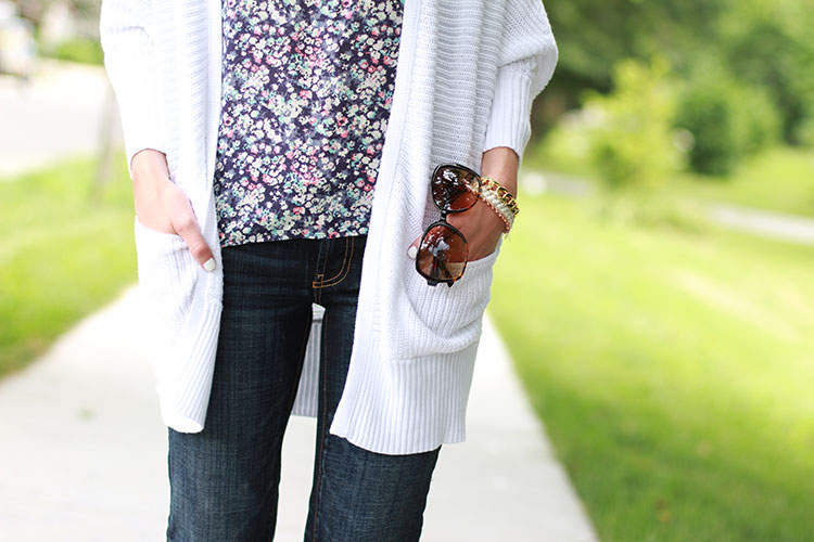 White Oversized Cardigan, Dark Wash Denim, Floral Top