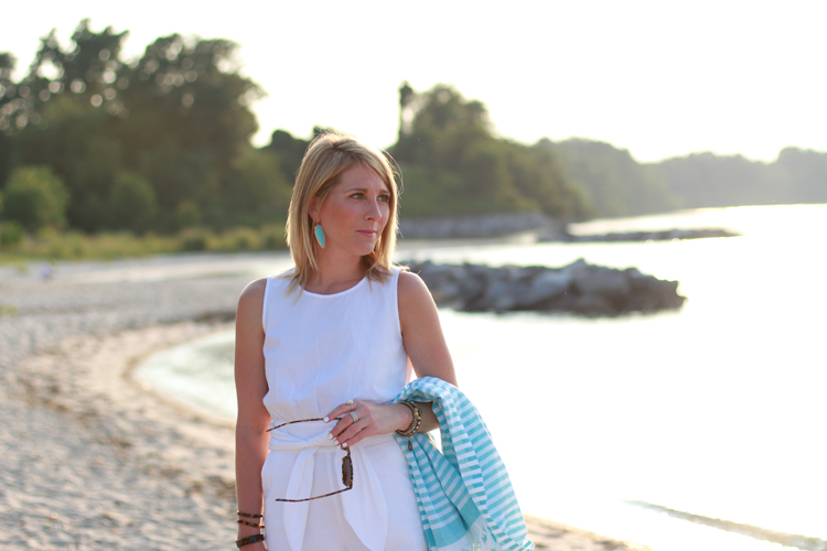 White & Teal Outfit