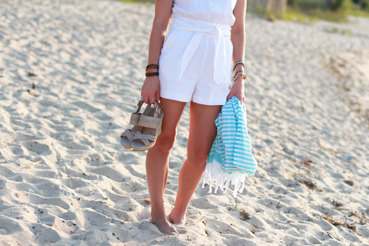 Easy Summer Outfit   White Romper, Nude Wedges, Simple Accessories