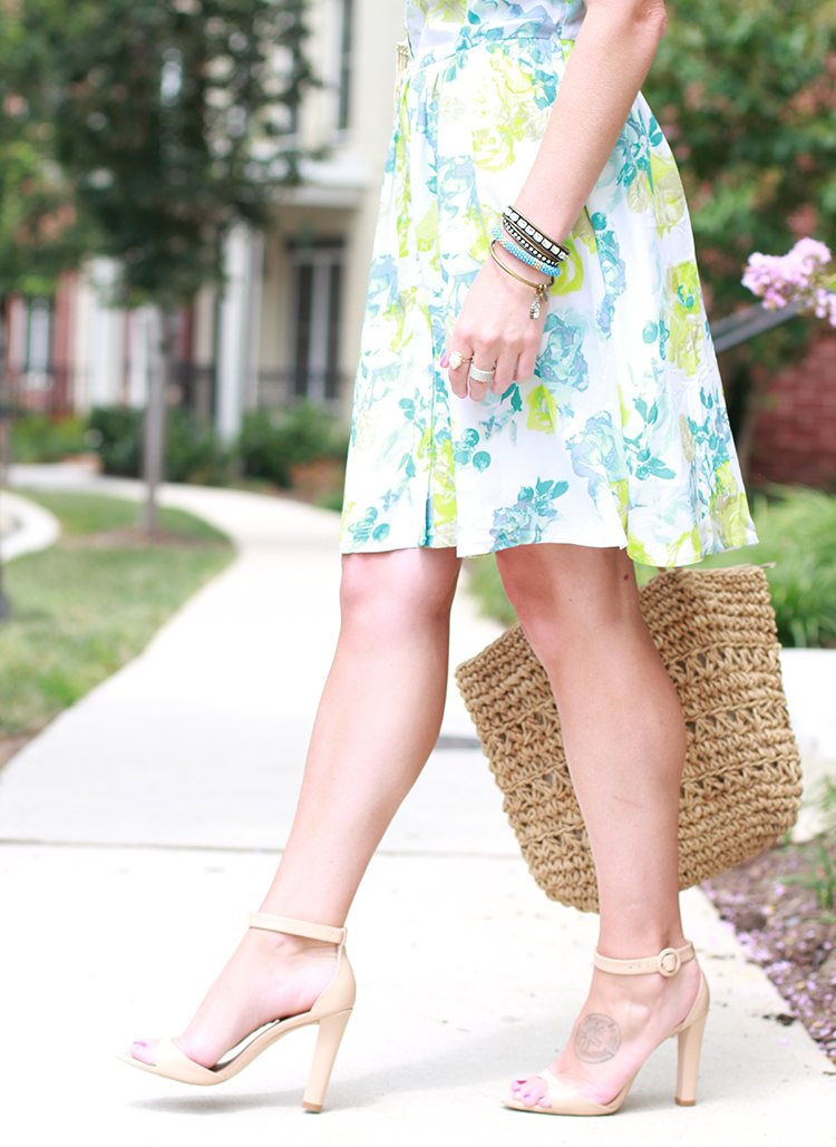 Floral Print And Nude Heels, Rose Print Dress, Summer Outfit Idea