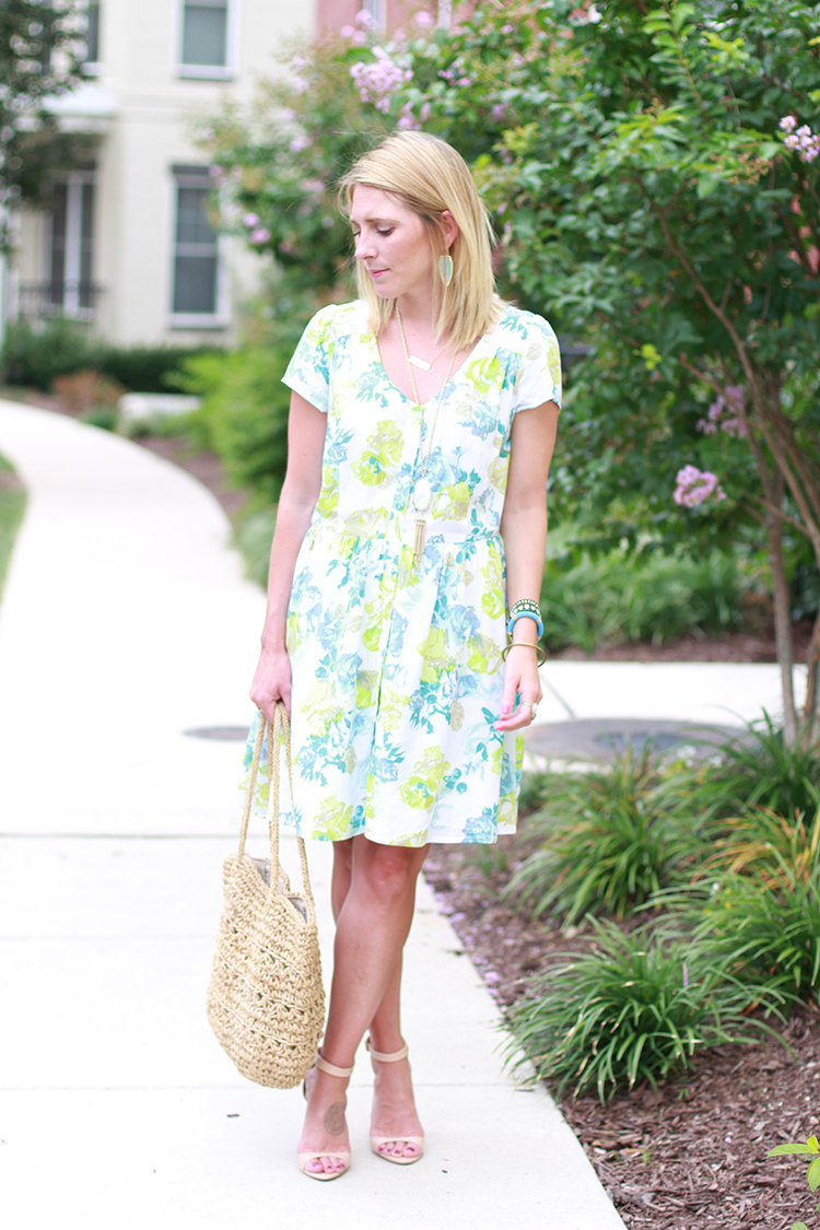 Green And Blue Dress, Rose Print Dress, Summer Outfit Idea