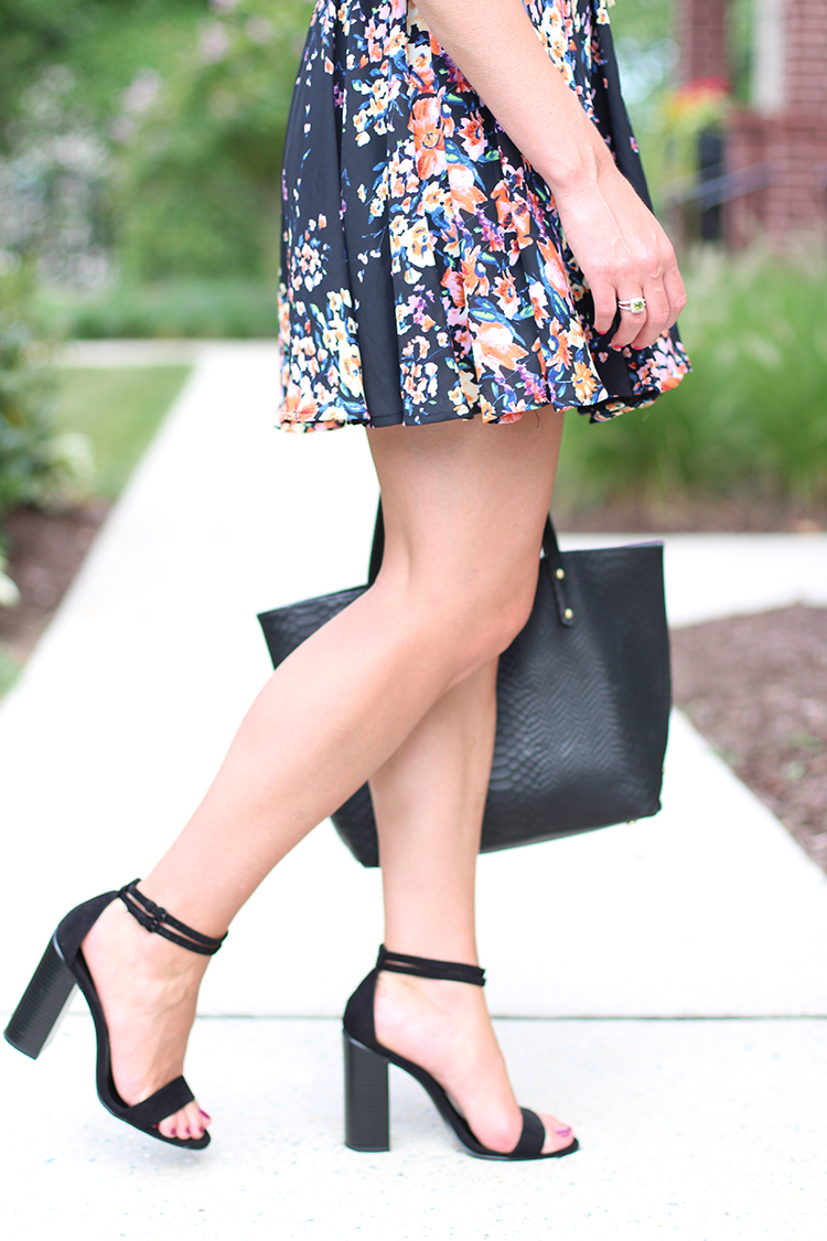 Perfect Black Heel, Floral Black Dress, Black & Neon Outfit