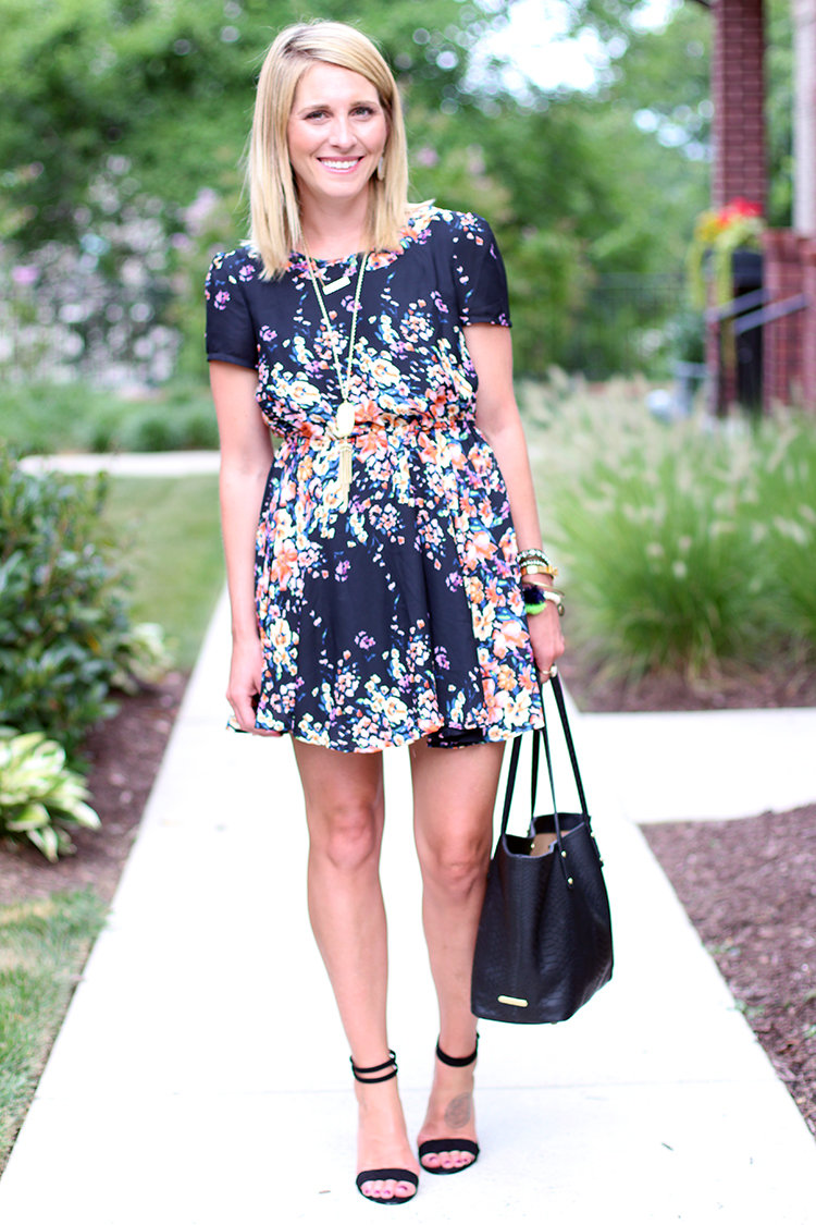 Black & Neon Floral Dress, Floral Dress, Summer Outfit Idea